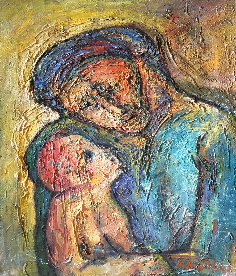 <b>Woman with child</b><br> (Orig. Donna con bambino) <br> 1978 Oil on canvas <br> cm 60 x 80