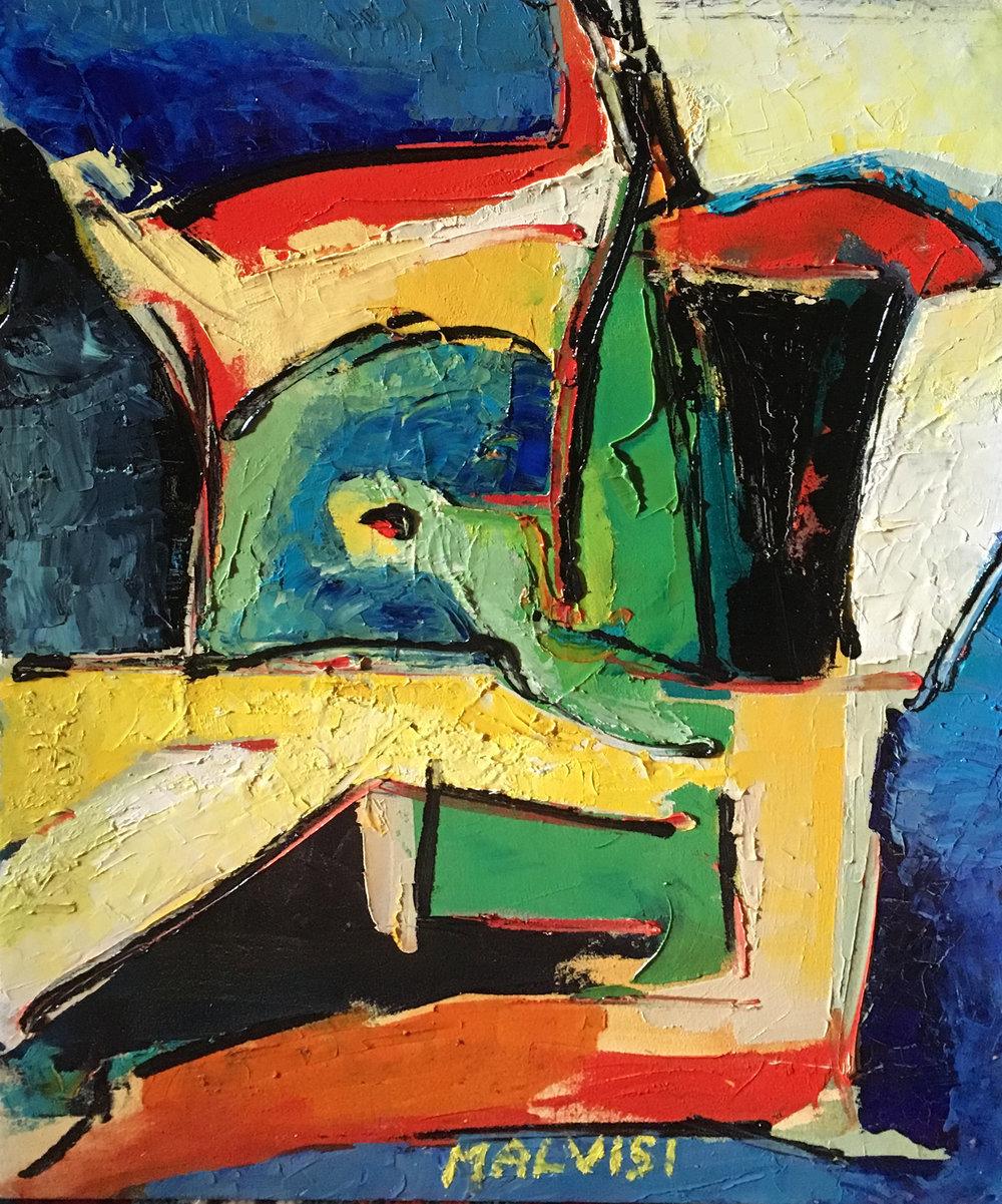 <b>Primordial</b><br> (Orig.Primordiale) <br>2003 Oil on wood <br> cm 60 x 80