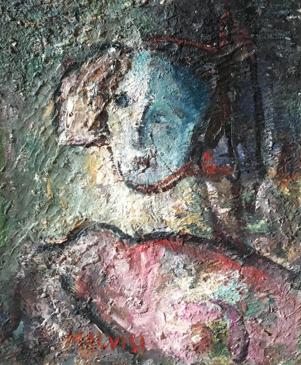 <b>Brave woman</b><br> (Orig.Donna coraggiosa) <br> 1992 Oil on wood <br> cm 50 x 70