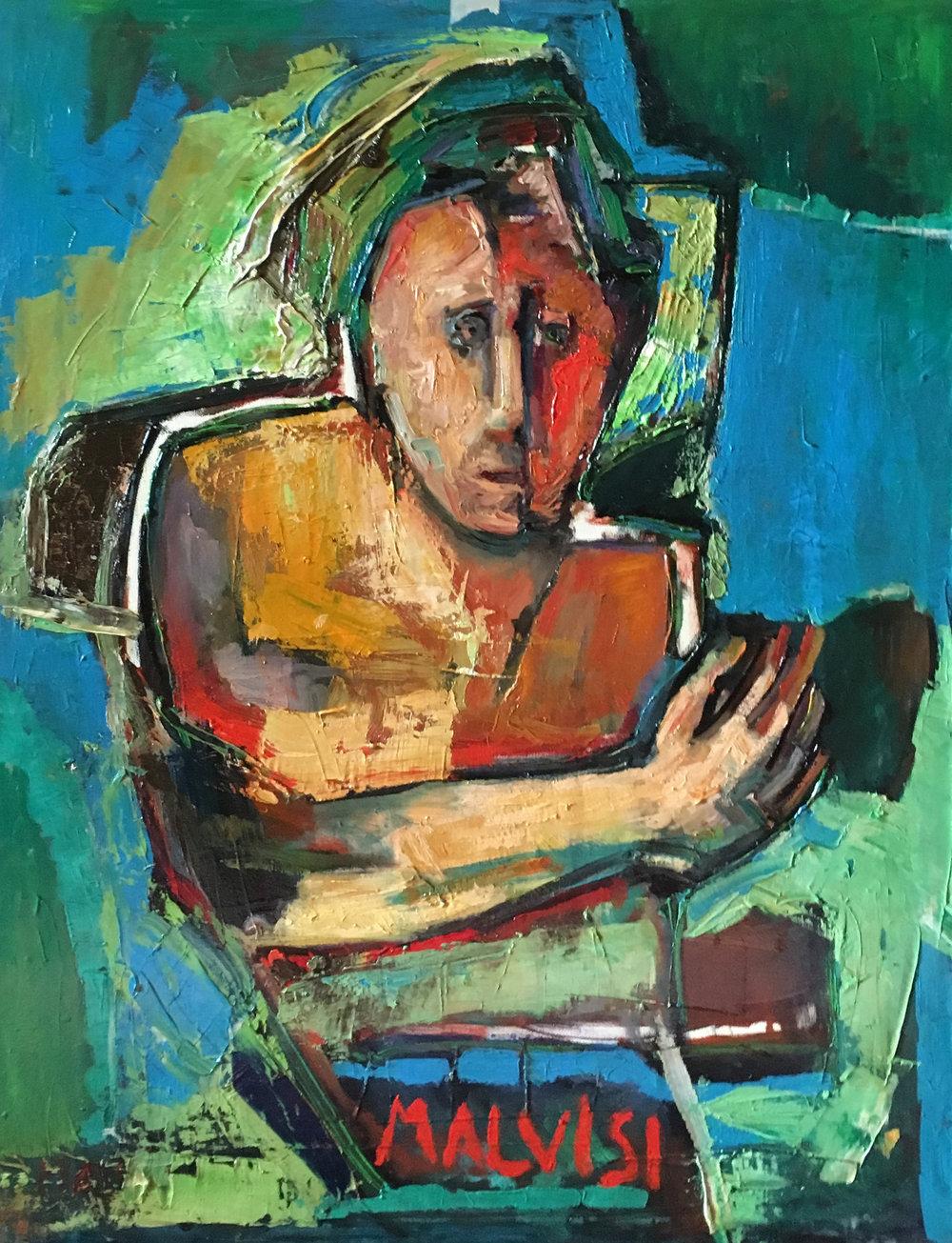 <b>The man!</b><br> (Orig.L'uomo!) <br> 1987 Oil on canvas <br> cm 60 x 80
