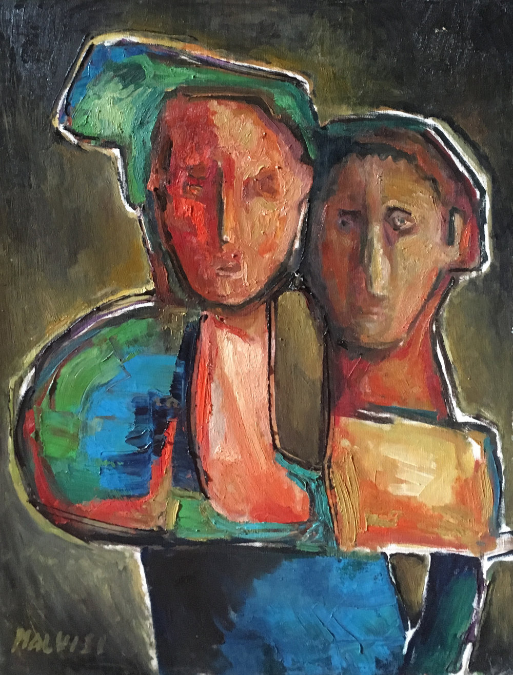 <b>Wonder or awe? </b><br>(Orig.Stupore o timore?) <br> 2001 Oil on wood <br> cm 50 x 70