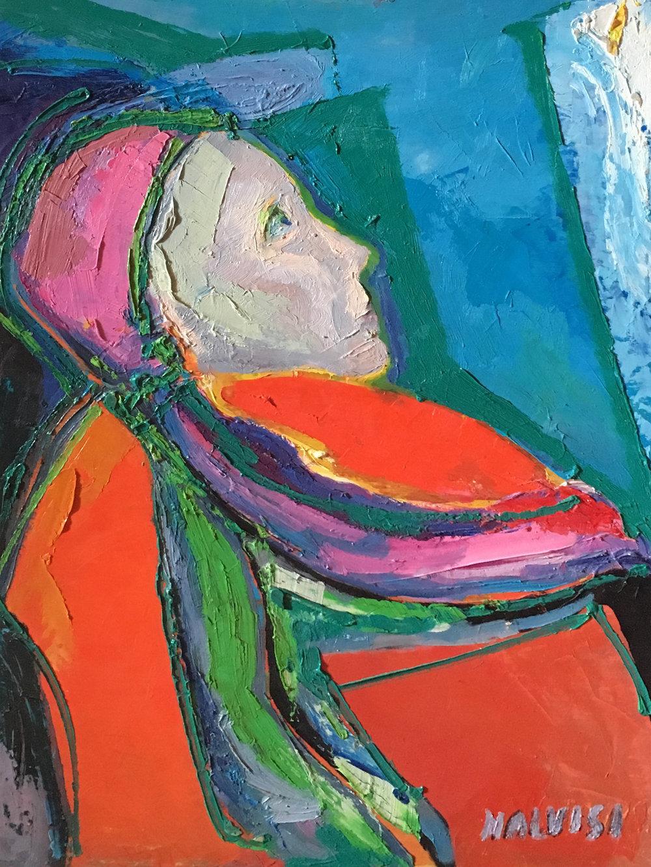 <b>Girl in red </b><br>(Orig.Ragazza in rosso) <br> 1998 Oil on wood <br> cm 50 x 70