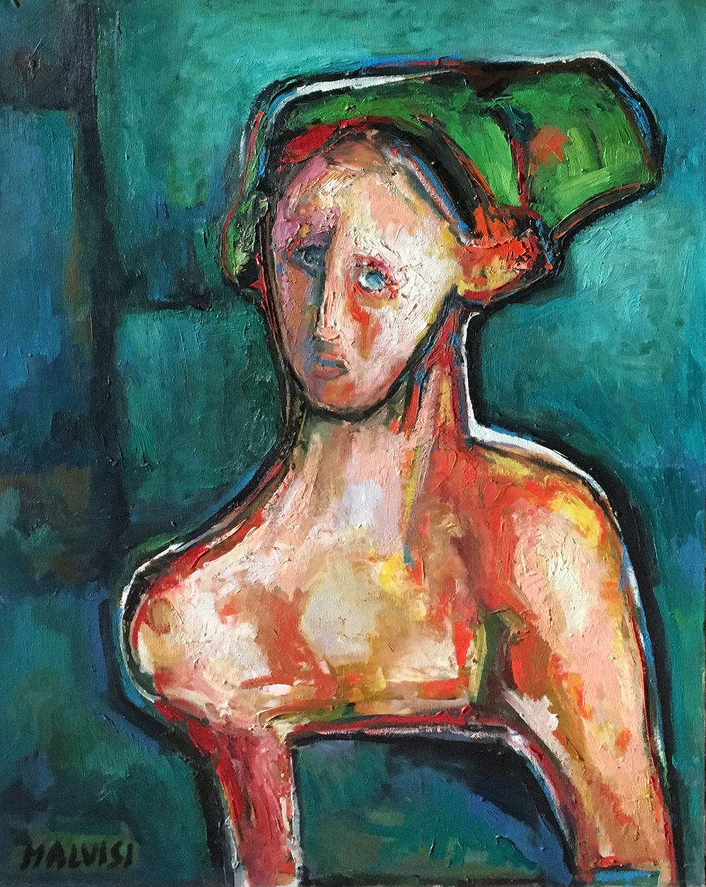 <b>The intimate face</b><br>(Orig. L'intimita' del volto) <br> 1998 Oil on canvas <br> cm 60 x 80