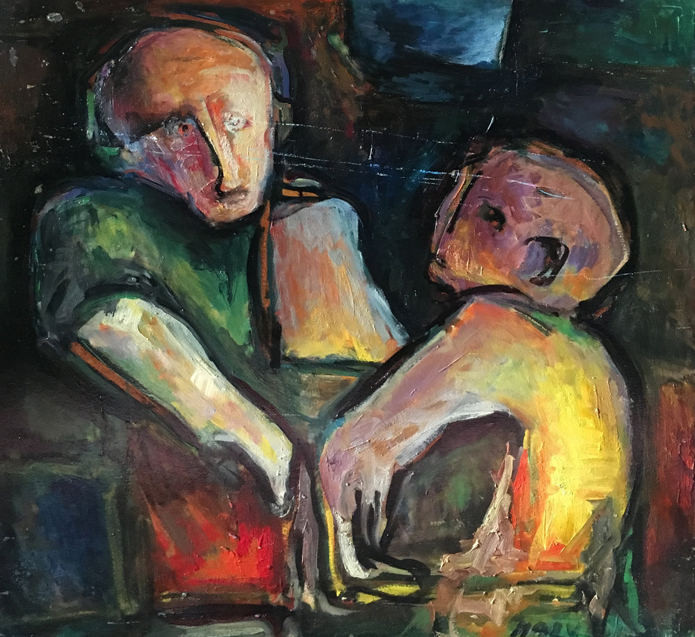 <b>Figures with dark background</b><br> (Orig. Figure con sfondo scuro) <br> 1974 Oil on wood <br> cm 70 x 73