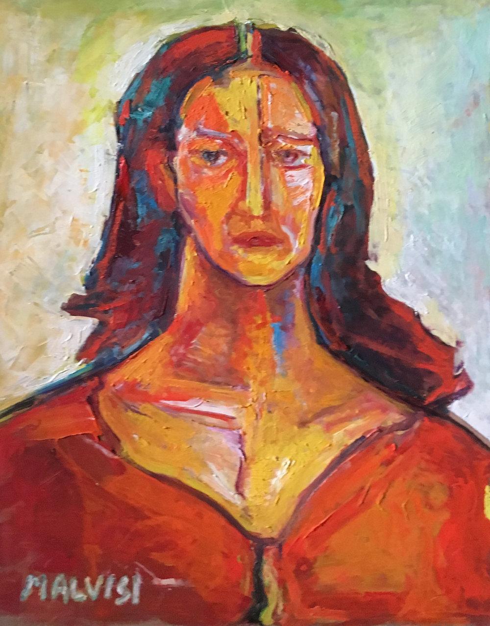 <b>Vittoria</b><br> 2002 Oil on wood <br> cm 50 x 70