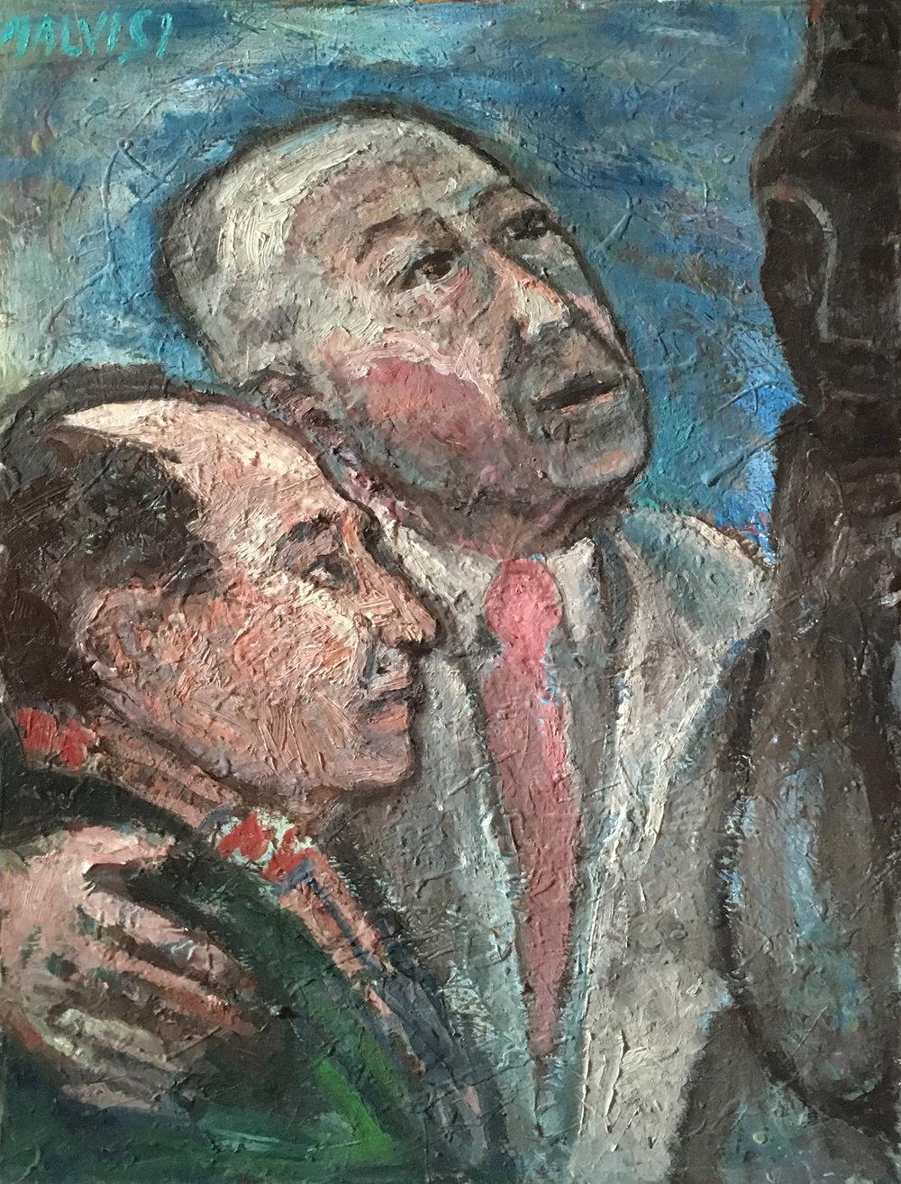 <b>Kokoska and Greco </b><br>1978 Oil on canvas <br> cm 50 x 70