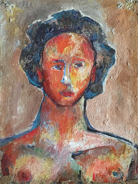 <b>Girls</b><br> 1977 Freso on sakcloth <br> cm 40 x 60