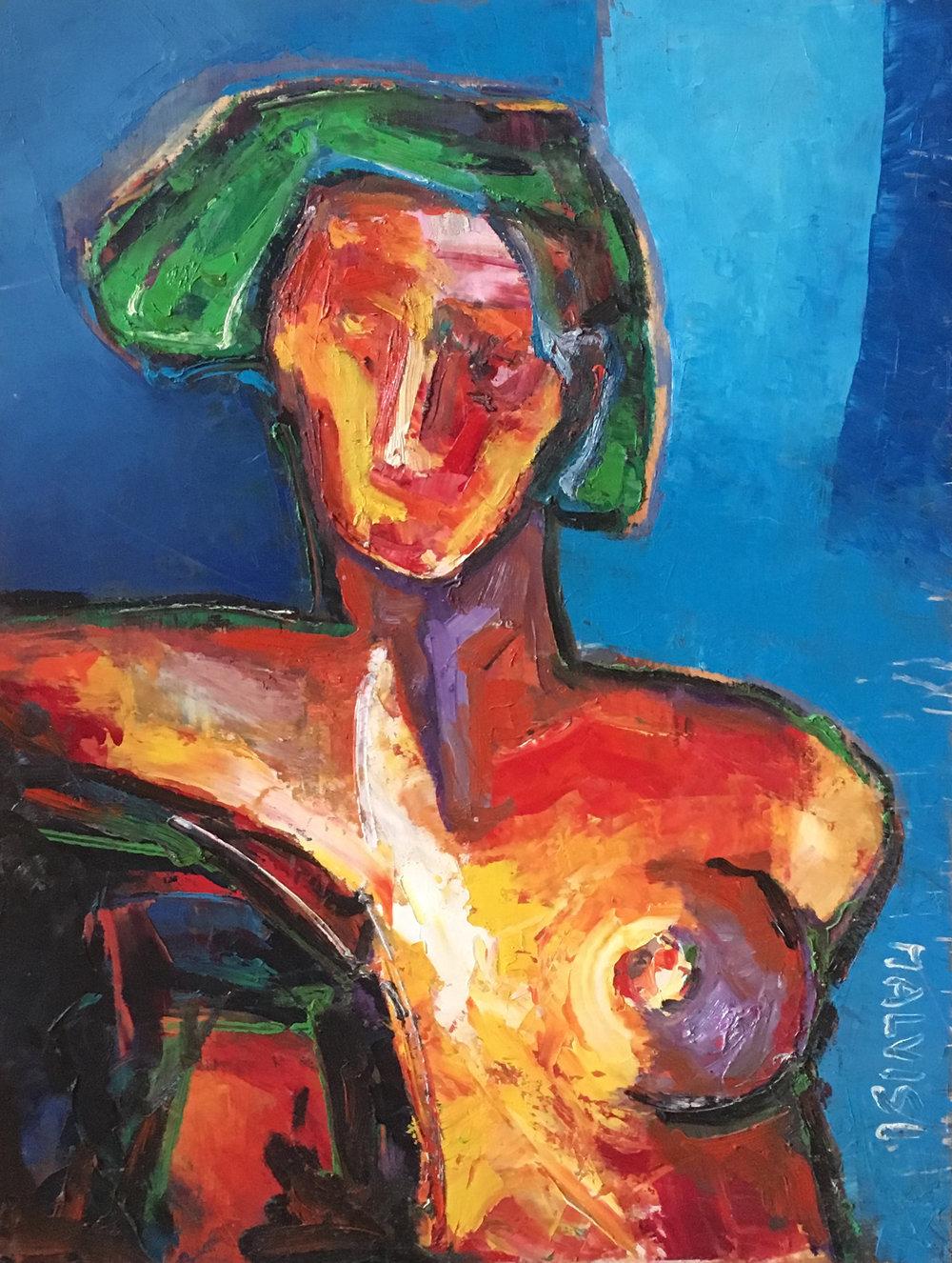 <b>Woman</b><br> 2001 Oil on wood <br> cm 50 x 70