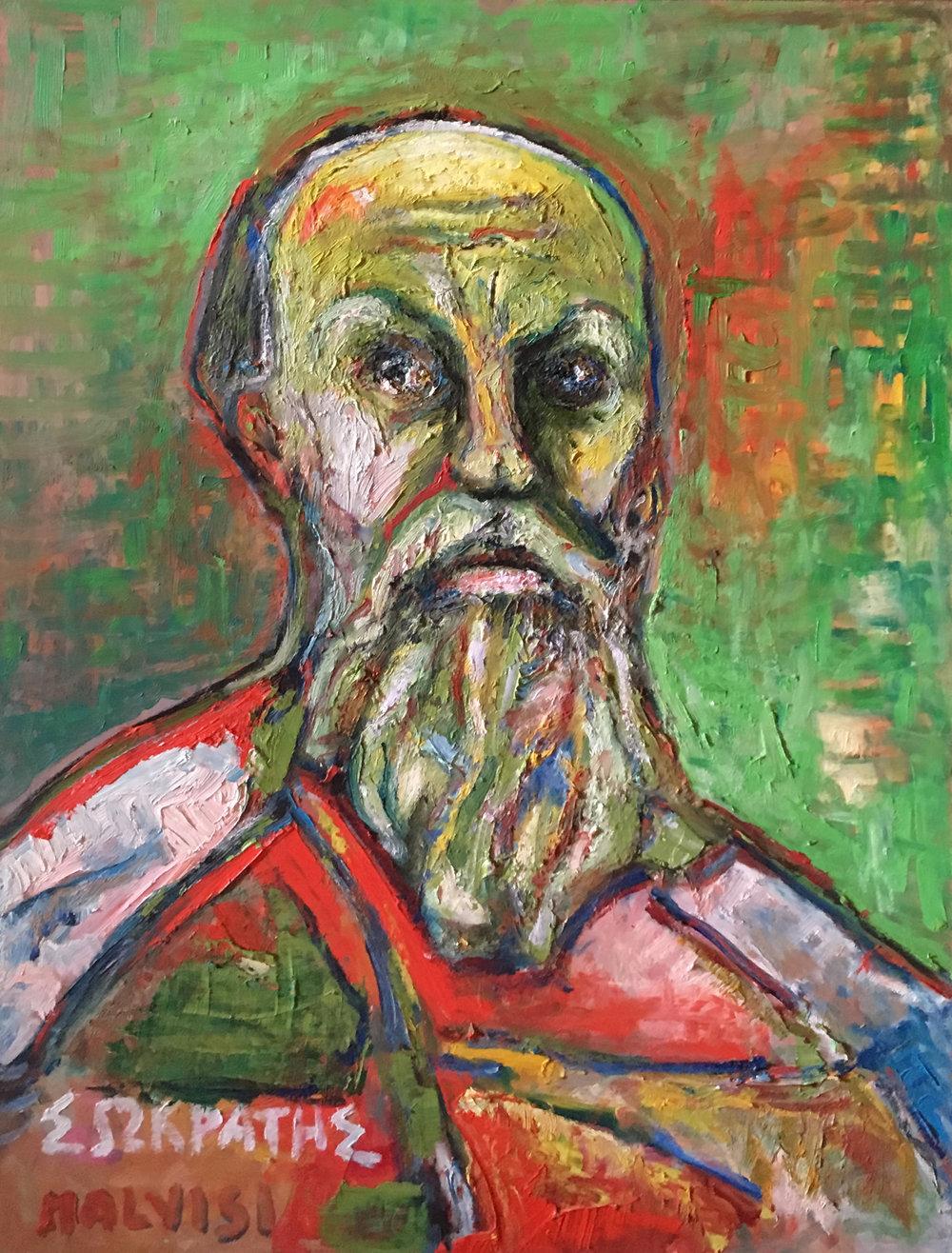 <b>Socrate</b><br> 2004 Oil on wood <br> cm 50 x 70