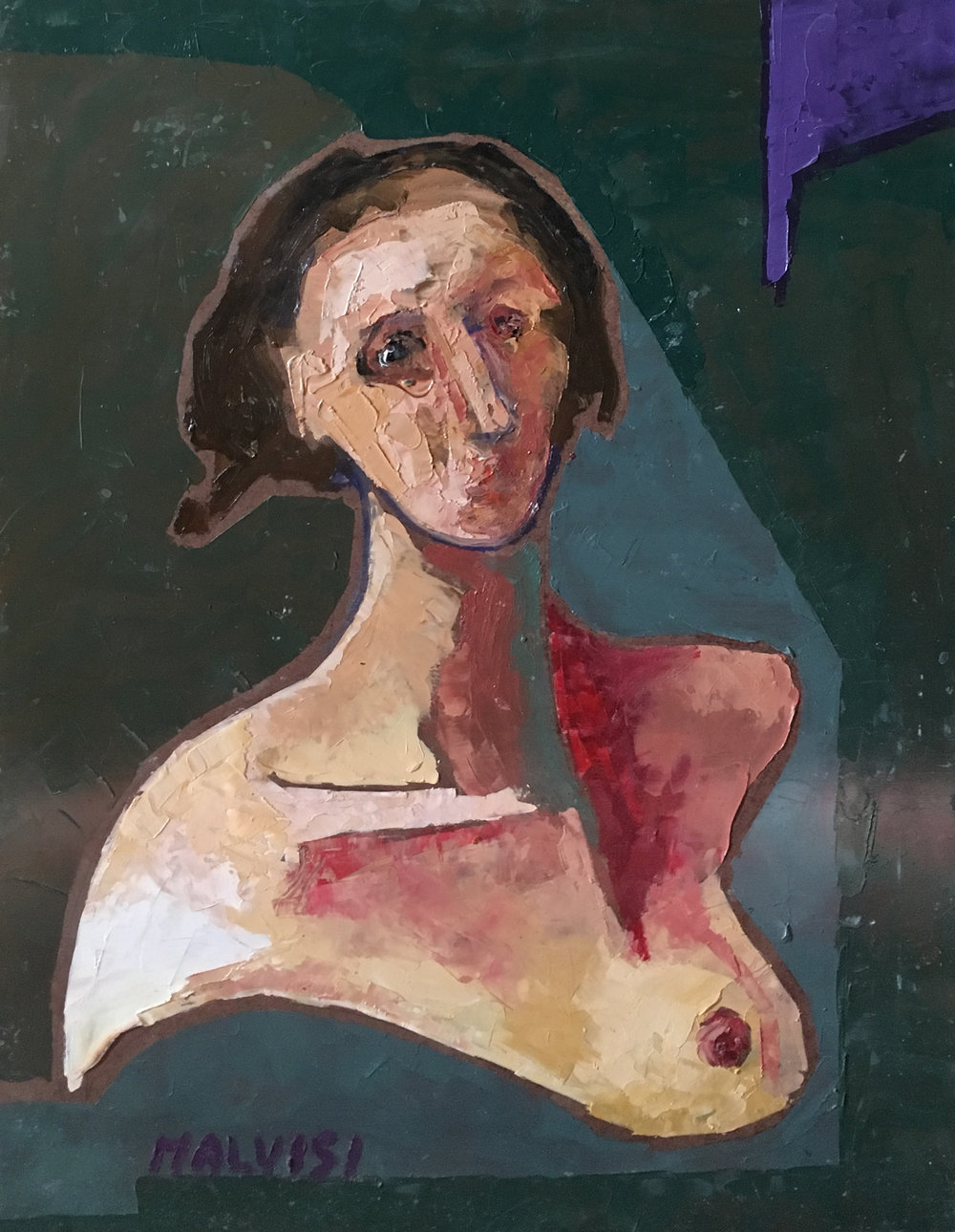 <b>Woman with breast</b><br> (Orig.  Donna col seno nudo) <br> 1996 Oil on wood <br> cm 50 x 70