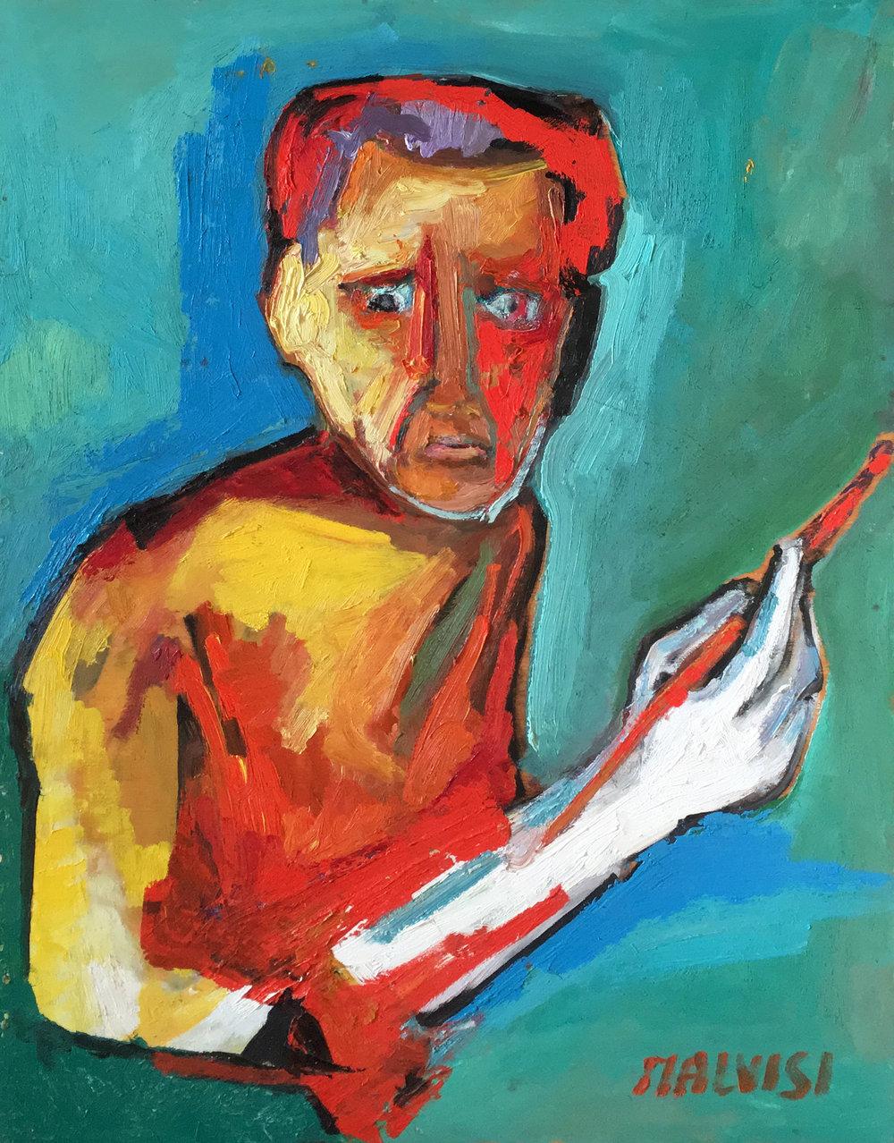 <b>Self portrait</b><br>1980 Oil on wood <br> cm 50 x 70
