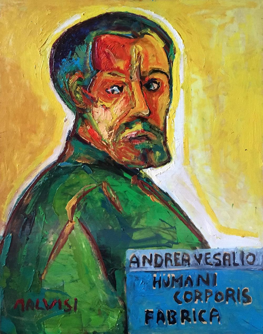 <b>Adrea Versalio</b><br> 2000 Oil on wood <br> cm 50 x 70