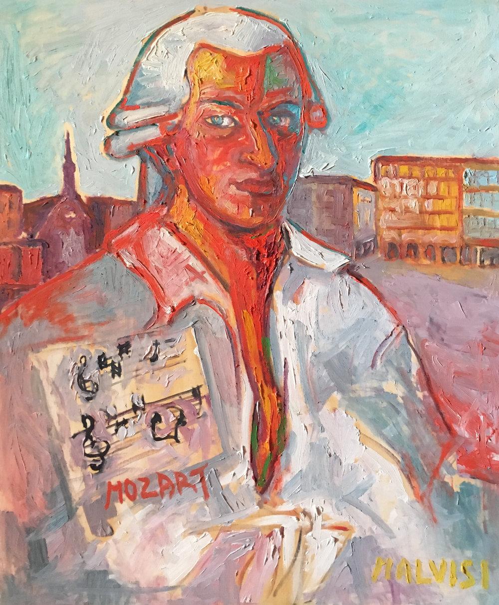 <b>Mozart</b><br> 1987 Oil on wood <br> cm 60 x 80