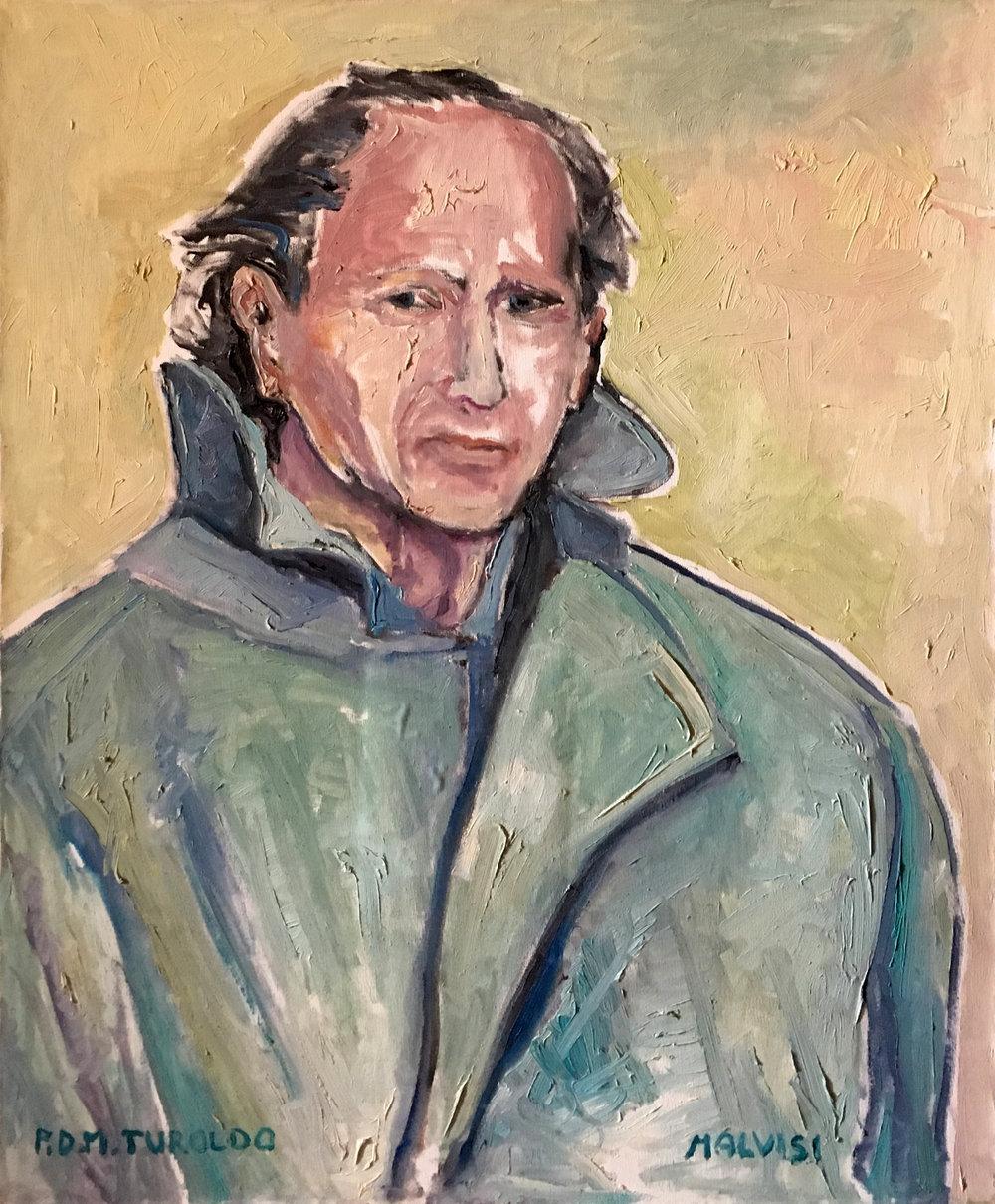 <b>Padre Davide Maria Turoldo </b><br>2004 Oil on canvas <br> cm 60 x 80