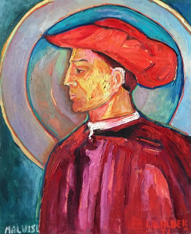 <b>Leon Battista Alberti</b><br> 2003 Oil on wood <br> cm 60 x 80