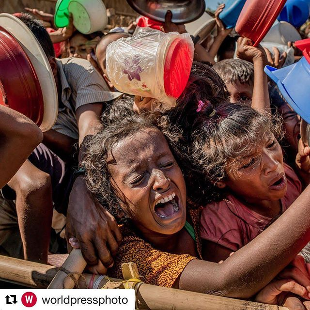 This just caught my eye.. If you think you haven't got enough, think again. I'll stop here.💔 Stay real.  #Repost @worldpressphoto (@get_repost) ・・・ A stampede of children push forward as they struggle to enter a center were hot meals are distributed daily in a refugee camp in Bangladesh. Every morning, there are thousands of children and some struggle to get the meal that consists in rice and a little bit of meat. But there only enough food for half of them, the rest will go back empty handed. ⠀⠀⠀⠀⠀⠀⠀⠀⠀ After decades of systematic discrimination and persecution against the Rohingya Muslims, in late August Myanmar's army began a campaign of what the United Nations has called ethnic cleansing. More than 620,000 have fled to Bangladesh in the last three months, arriving to squalid makeshift camps joining the more than 300,000 Rohingya who had escaped in previous influxes in recent years. Doctors Without Borders called the health conditions of the refugee encampments a time bomb. ⠀⠀⠀⠀⠀⠀⠀⠀⠀ Hi, my name is Tomas Munita, I am a freelance photographer based in Chile. I work mostly for The New York Times covering news worldwide and this week as I am taking over the World Press Photo Foundation Instagram feed. I will be sharing my latest work for the NYT documenting the current humanitarian crisis of the Rohingya people. ⠀⠀⠀⠀⠀⠀⠀⠀⠀ @nytimes #nytassignment __________ ⠀⠀⠀⠀⠀⠀⠀⠀⠀ Entries for the 2018 Photo Contest are now open! Deadline: 4 January at 12 (noon) CET. ⠀⠀⠀⠀⠀⠀⠀⠀⠀ The contest is open to professional photographers and photojournalists, and entry coordinators submitting work on their behalf. It's free to enter and judged anonymously by an independent jury. ⠀⠀⠀⠀⠀⠀⠀⠀⠀ Visit worldpressphoto.org to find out more and register now!