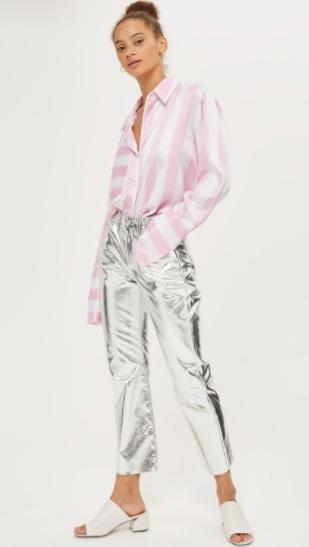 MOTO Silver Metallic Cropped Kick Flare Jeans