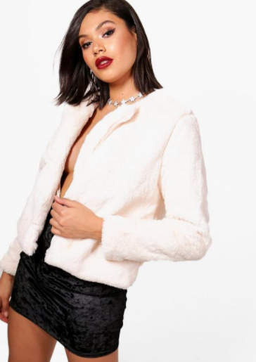 Boohoo Alana Crop Fur Coat