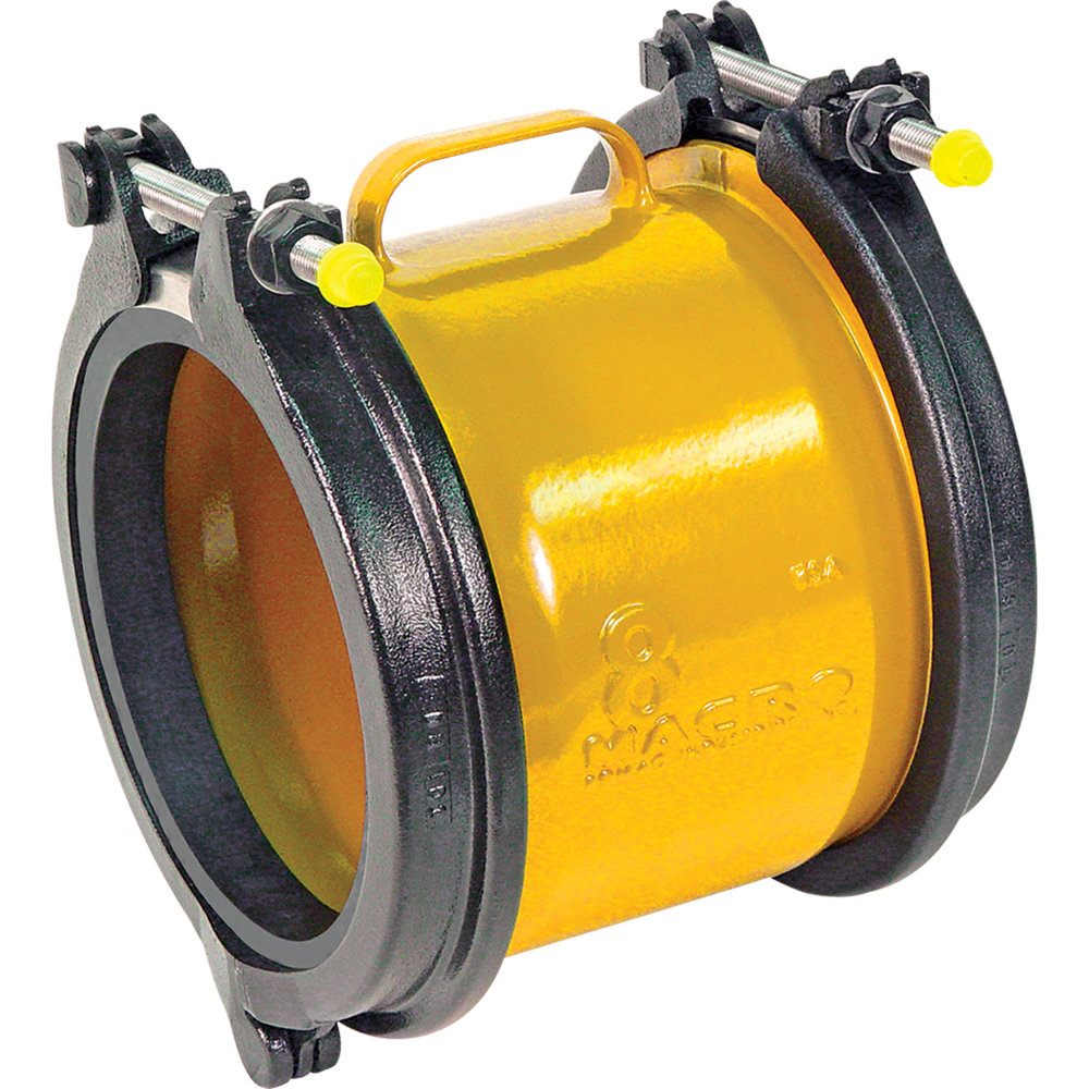 MACRO HP - Two-bolt wide range ductile iron coupling.Nominal Sizes2 - 12 inchesWorking PressureUp to 305 psiPipe CompatibilitySteel, cast iron, asbestos cement, plastic and other types of pipe