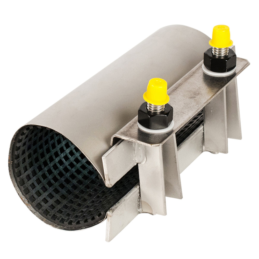 C - Single-section stainless steel pipe repair clamp.Nominal Sizes1/2 - 12 inchesWorking PressureUp to 150 psiPipe CompatibilitySteel, cast iron and asbestos cement pipe