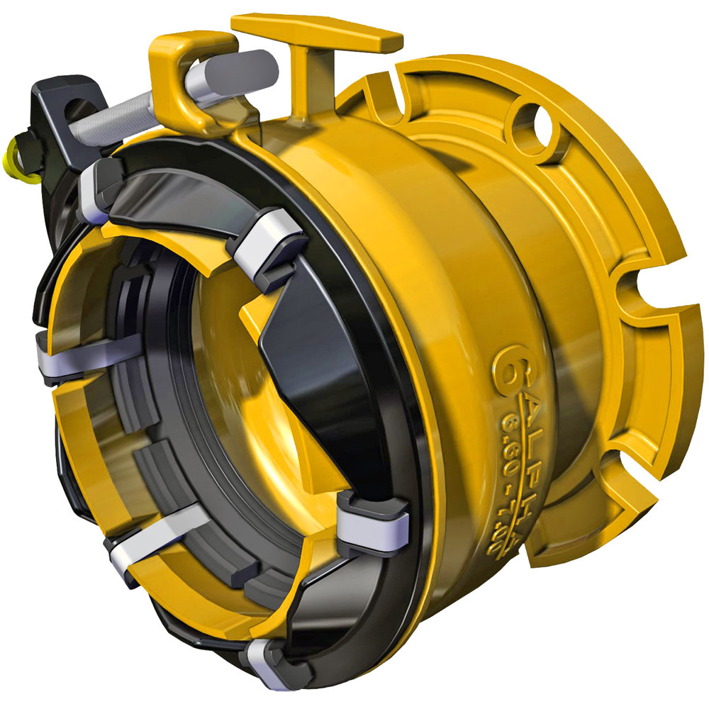 ALPHA FC - Wide range, restrained flange coupling adapter.Nominal Sizes4 - 12 inchesWorking PressureUp to 350 psiPipe CompatibilityDuctile Iron, Cast Iron, PVC and HDPE