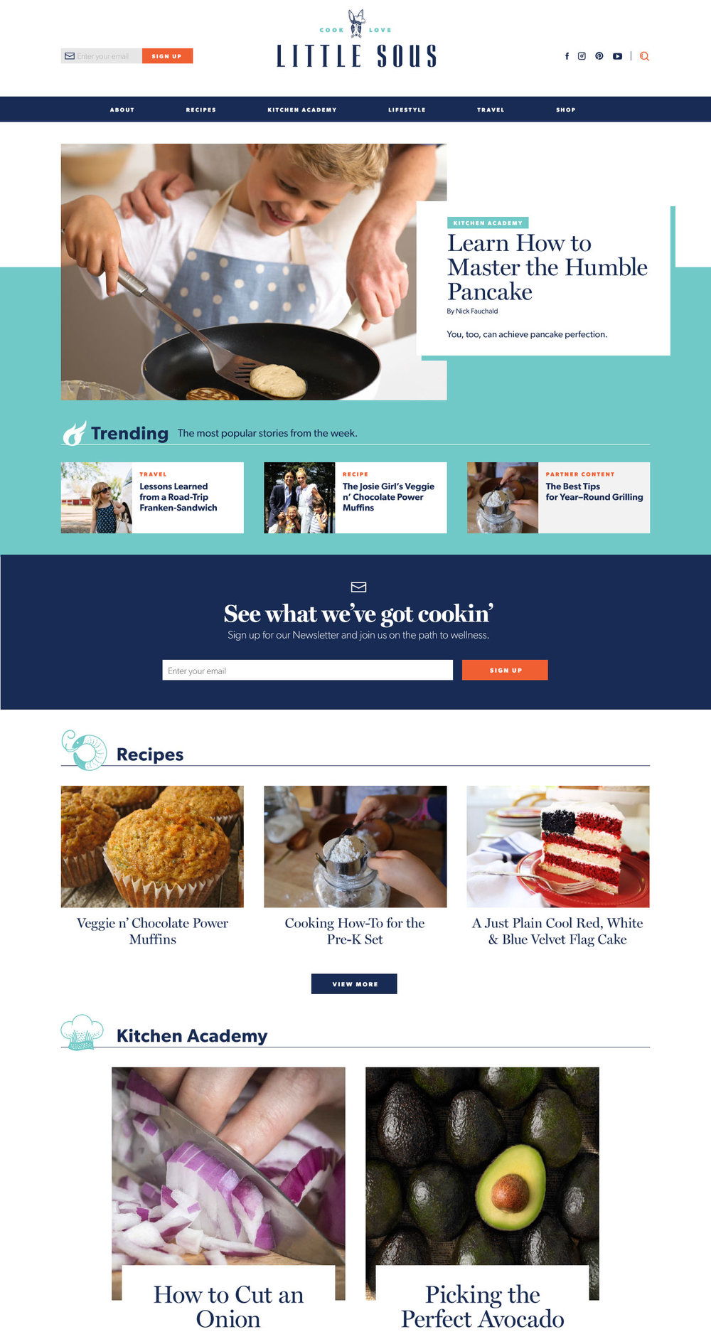 Little SousBig Site - I was contacted soon after my first daughter was born by the publisher of Little Sous. She immediately impressed me with the mission of the site and her passion. I loved the idea that the kitchen could not just be a valuable space for kids to experiment, learn, and build confidence, but it's also a chance to create to memories and bond with your children. It was shocking that a site like this didn't already exist.I jumped at the opportunity to design and build the site from the ground up, from selecting the CMS to designing custom icons. I brought years of experience in digital publishing to this project and walked away feeling very proud of both the site and the content.