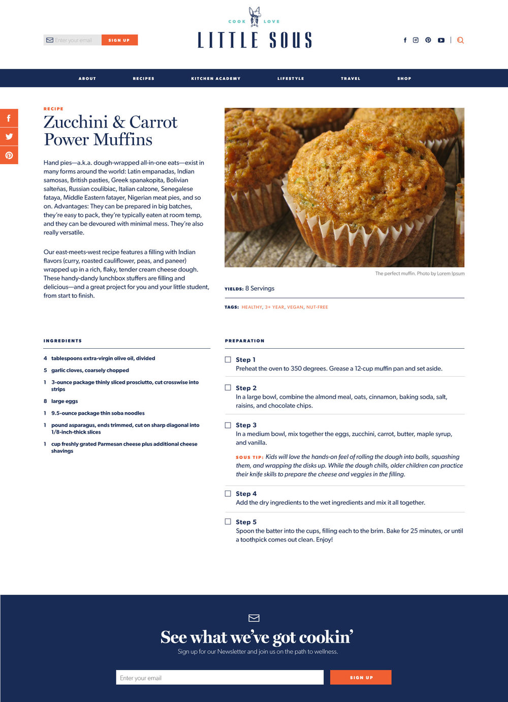 Rethinking Recipes - Personally, I need a recipe when I'm in the kitchen. I often search for recipes on my phone or tablet and follow along while cooking. Immediately I had front and back end ideas on how to improve the functionality. Moving ingredients side by side with the instructions, and creating a collapsable step by step feature reduces the need to scroll up and down and constantly losing your place. The back end of the site uses custom fields for the ingredients, units, and measurements to make future features, such as doubling recipes a cinch.