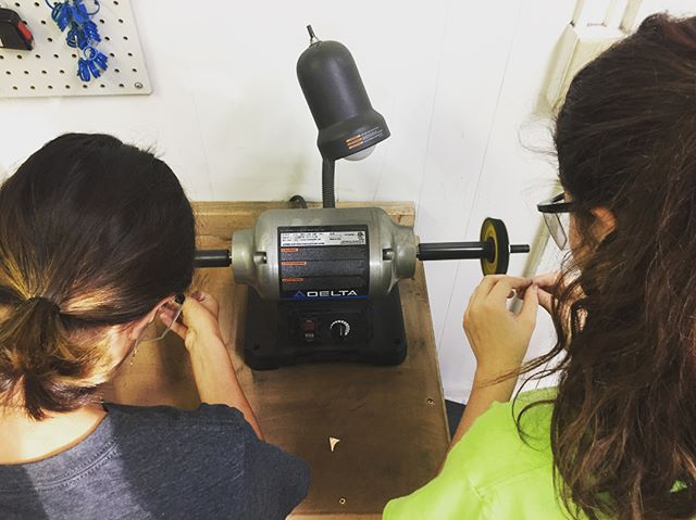 Super fun earring class with Mika and Salma this evening! They each learned how to cut, form, solder and polish a pair of earrings and even made a second set out of our test samples ;)