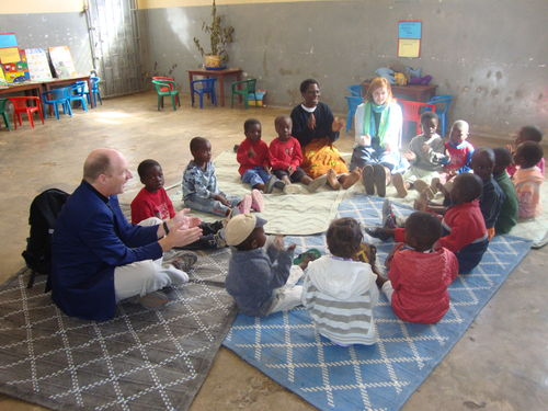 Alex and Ginny Evans share songs with the children at the Center for Orphans and Vulnerable Children