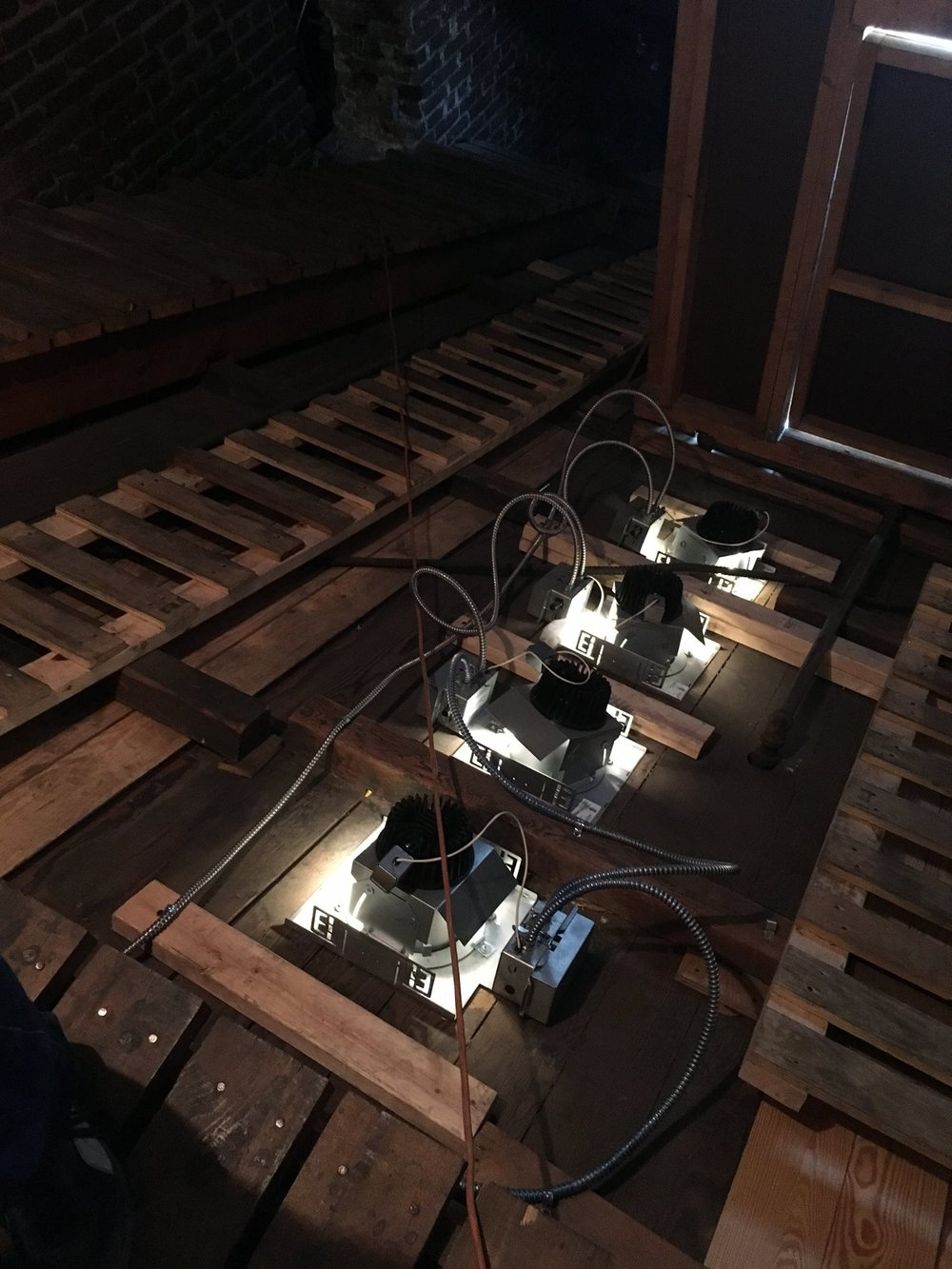 Some of our new lights! Looking down on the organ.