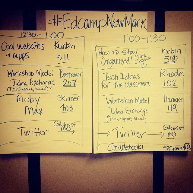EdcampNewMark's inaugural session board!