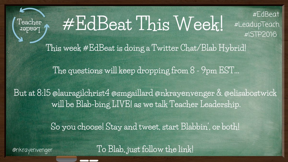 #Edbeat Teacher Leadership Chat 2016 info