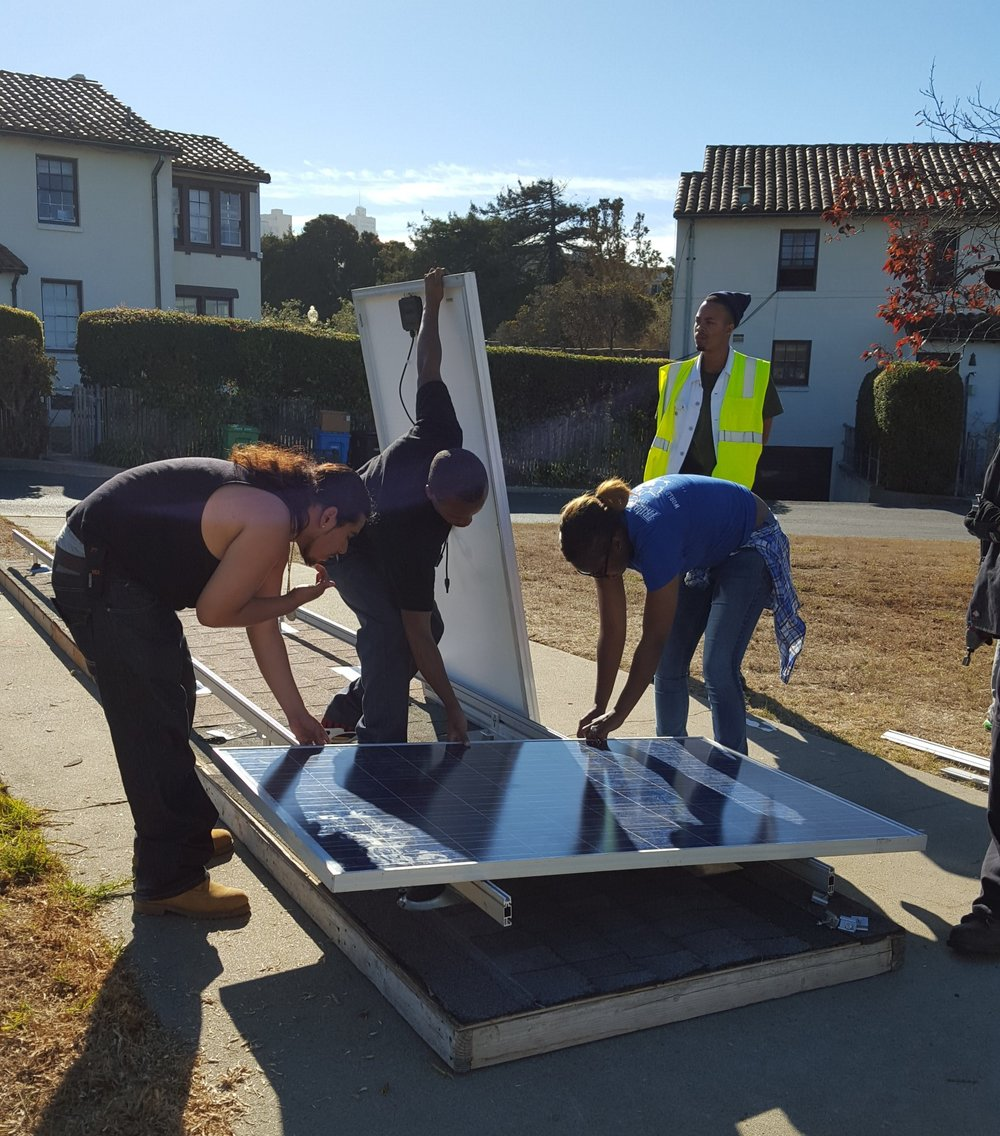 Pre-Apprentice participants learn how to install solar panels