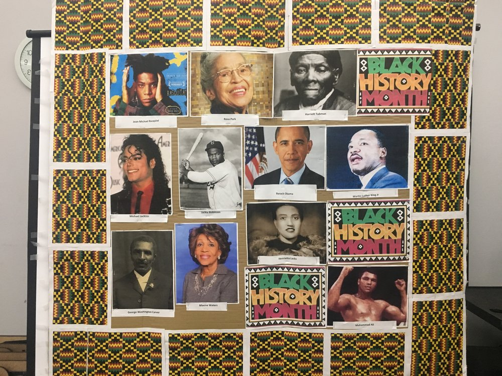 Black History Month poster board displayed at SFCC throughout February.