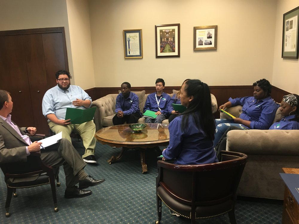 Corpsmembers discuss the impact of SFCC with Assemblymember Kevin Mullin's staff