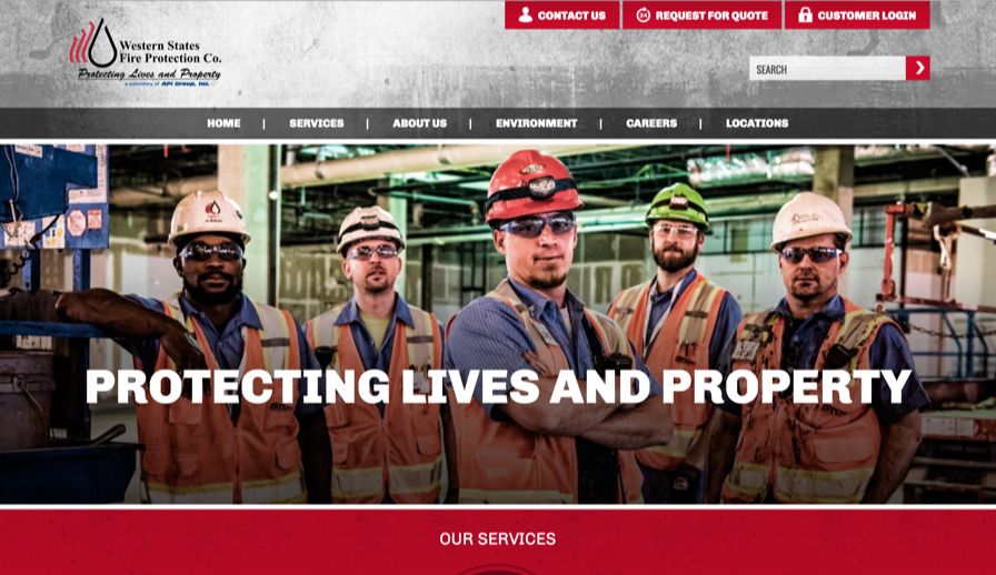Western States Fire Protection Co.   use heavy and bold typography weights which create a proper sense of hierarchy and draws the user's eye to important sections. They have a well-balanced combination of photography and illustrations that make the site look professional. The strong combination red and gray colors also complement their brand very well.  There were also some negative aspects to their design choices. These included the site being overwhelmed with the text. They also used three types of typography and were not consistent in their use throughout the website which made the site look inconsistant.
