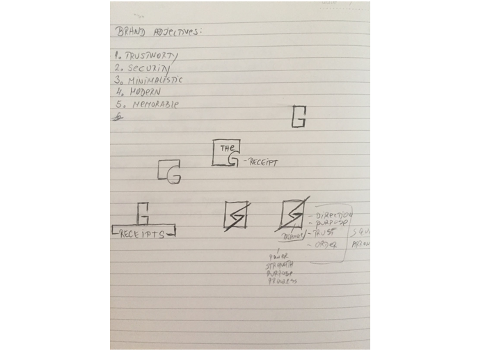 - I took a couple of hours to explore and find inspiration for new logo design. Some of the adjectives which lead me to make a decision were trustworthy, secure, minimal, modern and memorable.I explored squares, arrows, different G shapes and all of these to come up with a logo which could represent G-Receipt brand the best.