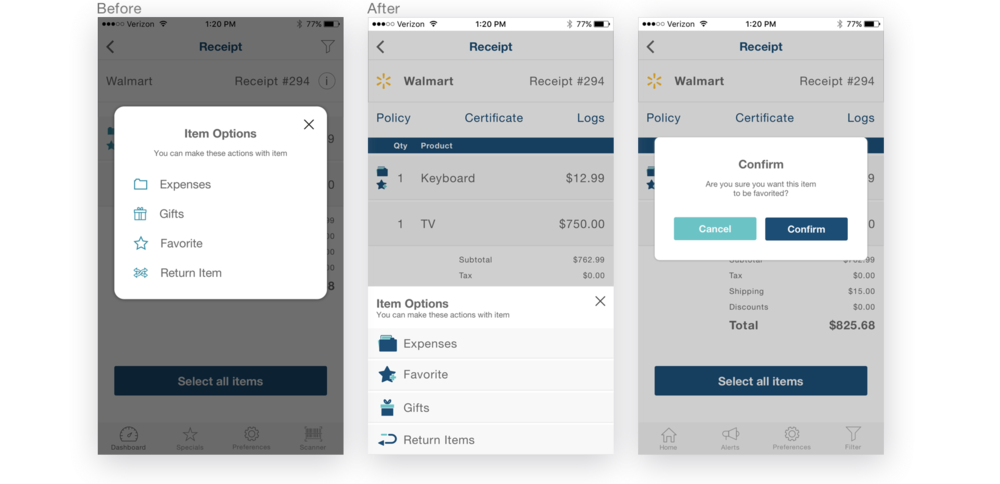 Item options  were changed too. Instead of the  pop-up modal , I made this options better connected with receipt screen, so users had a feeling that they were still on that main page and those options were part of an item from certain receipt.