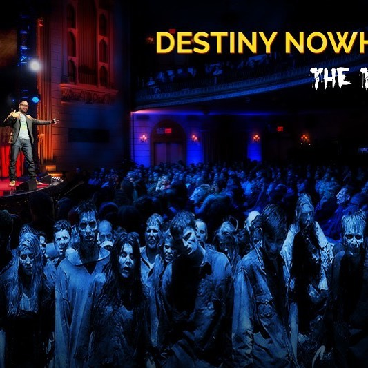 Destiny Nowhere is on the road! I'm starting my #booktour in #philly this week and have two great events planned. On Thursday I'll be giving a talk, reading and #zombiemakeup demo at Philly's only (and very cool) #apocalypse themed restaurant #madrex . On Friday, I'll be joining Sean and Sean at #wildfireradio on the #cornerpubsports #podcast to... not talk about sports (I hope!). If you'll be in the area, join me for a #zombie good time at Mad Rex! If you've got nothing better to do on Friday night, listen in to the podcast! Either way, help spread the word and share this meme and message with one and all! #destinynowhere  Buy the book: http://tinyurl.com/yd6dnmyy  Visit the site: matthewhollisdamon.com  P.S. Promo image is totally photoshopped. I haven't given a Ted Talk (yet) but, if I ever do, I hope the audience doesn't want to eat my brains for dinner! #fake #tedtalks #brainsfordinner #brain #brainfood