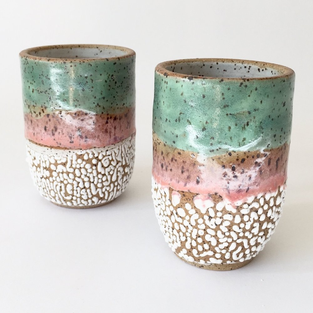 "Sunset Cup  Glaze on speckled stoneware. 4""H x 3""W Wholesale 22"
