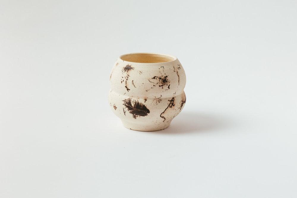 """Horsehair Gourd Vase   5""""H x 5""""W Glazed interior. Retail 190"""