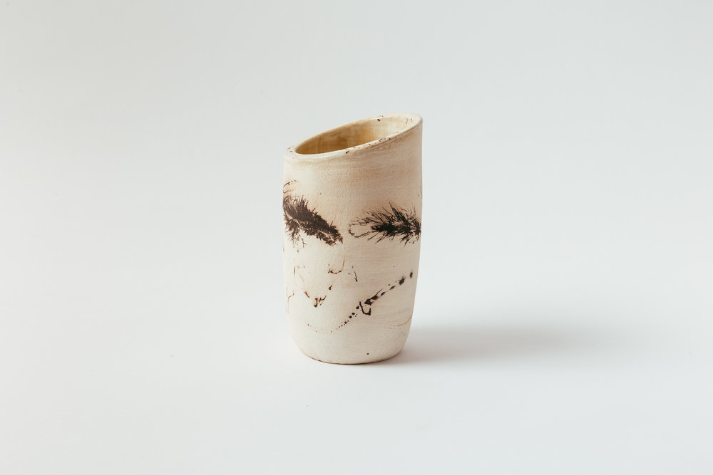 """Horsehair Carafe   Horsehair, feathers and sugar on stoneware, glazed interior. 6.5""""H x 3.5""""W Retail 120"""
