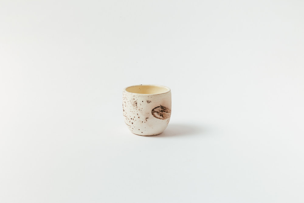 """Horsehair Cup   Horsehair, feathers and sugar on stoneware, glazed interior. 3""""H x 3""""W Retail 60"""