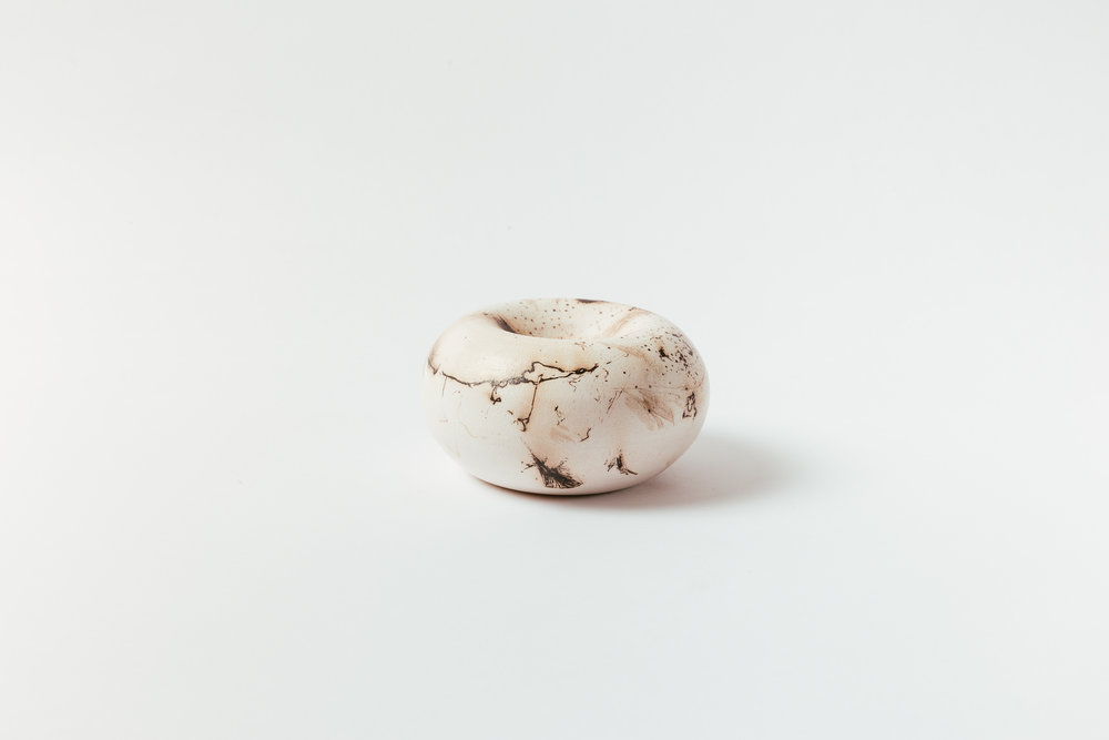 "Horsehair Moonpod   Unglazed surface.   Medium, 6""W x 3""H Wholesale 85  Small, 4""W x 2.5""H Wholesale 75"