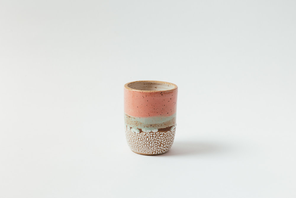 "Sunset Tumbler   Glaze on speckled stoneware. Available in custom colors.  4""H x 3""W Retail 58"