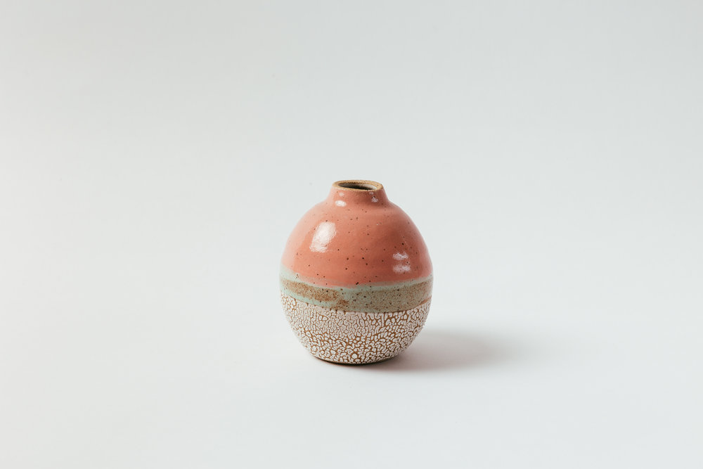 "Sunset Budvase   Glaze on speckled stoneware. Available in custom colors.  4""H x 4""W Wholesale 28"