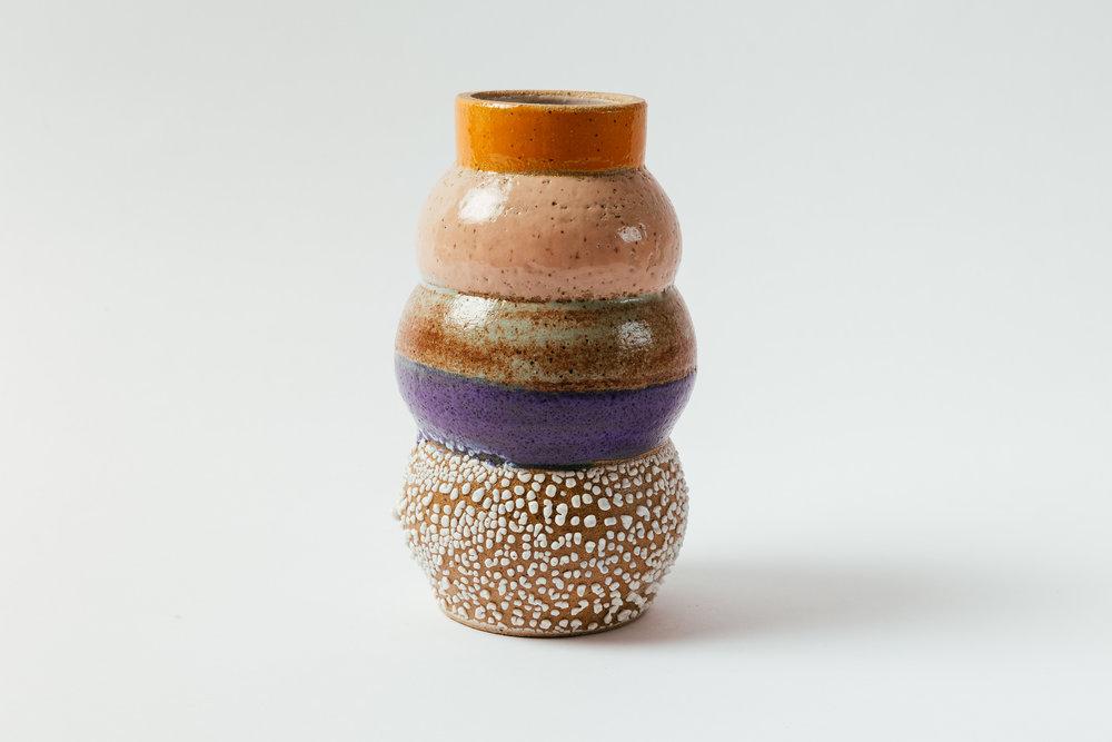 "Totem Vase in Melon   Glaze on speckled stoneware.  7.5""H x 5""W Retail 176"