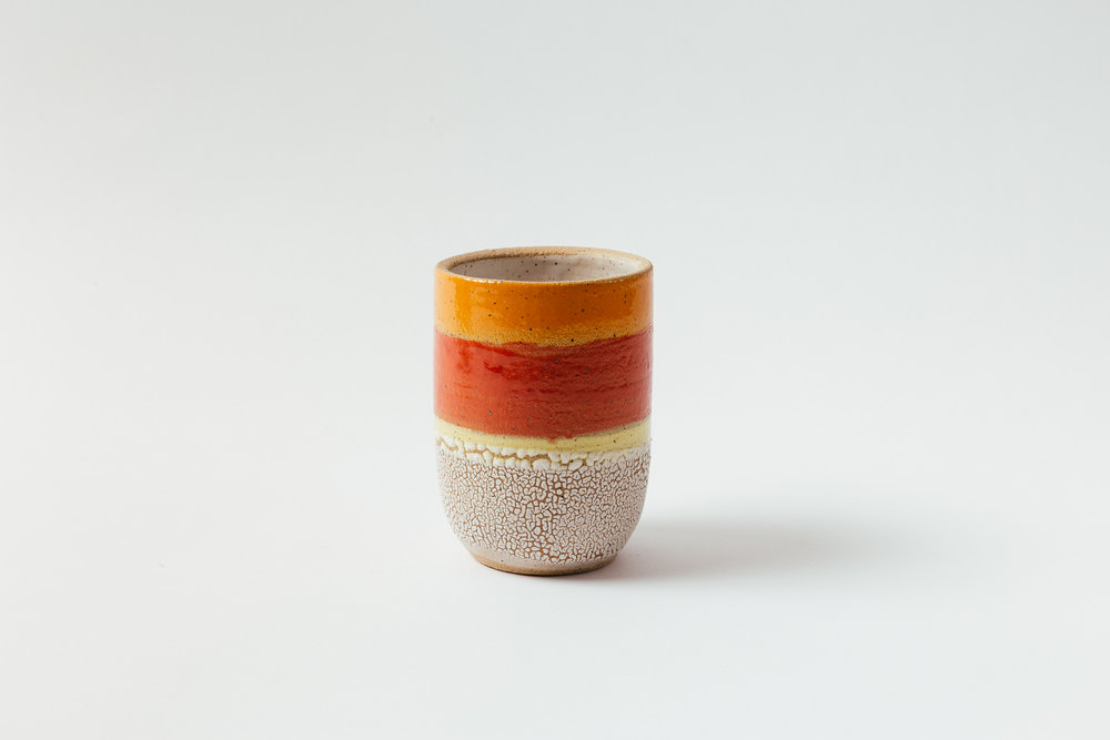 "Medium Crock   Glaze on speckled stoneware.  5.5""H x 4.25""W Retail 128"