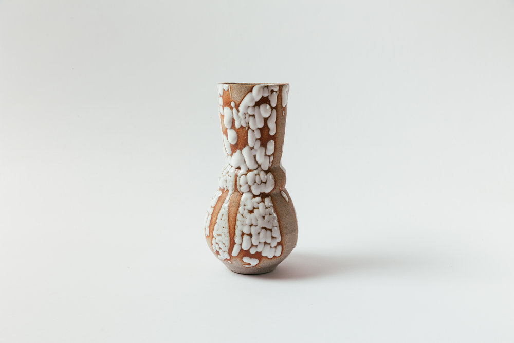 "Fjord Vase   Glaze on granite stoneware.  9""H x 4.5""W Retail 200"