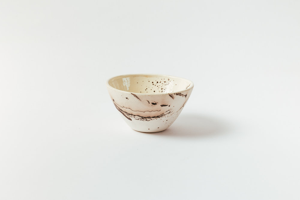 """Horsehair Small Bowl   Horsehair, feathers and sugar on stoneware, glazed interior. 3""""H x 6""""W Retail 80"""